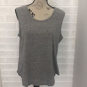Heather Gray Sleeveless Top with Bar Strap in back